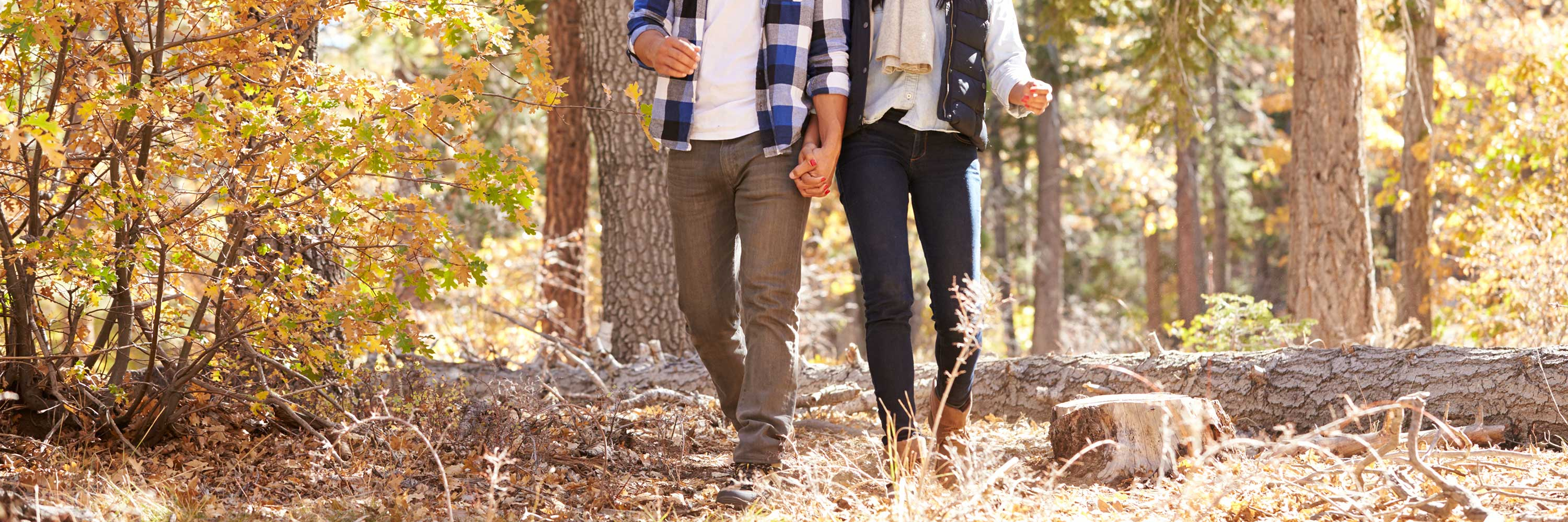 Picture of a couple hiking while holding hands