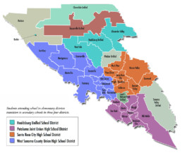 Map of schools in Sonoma County