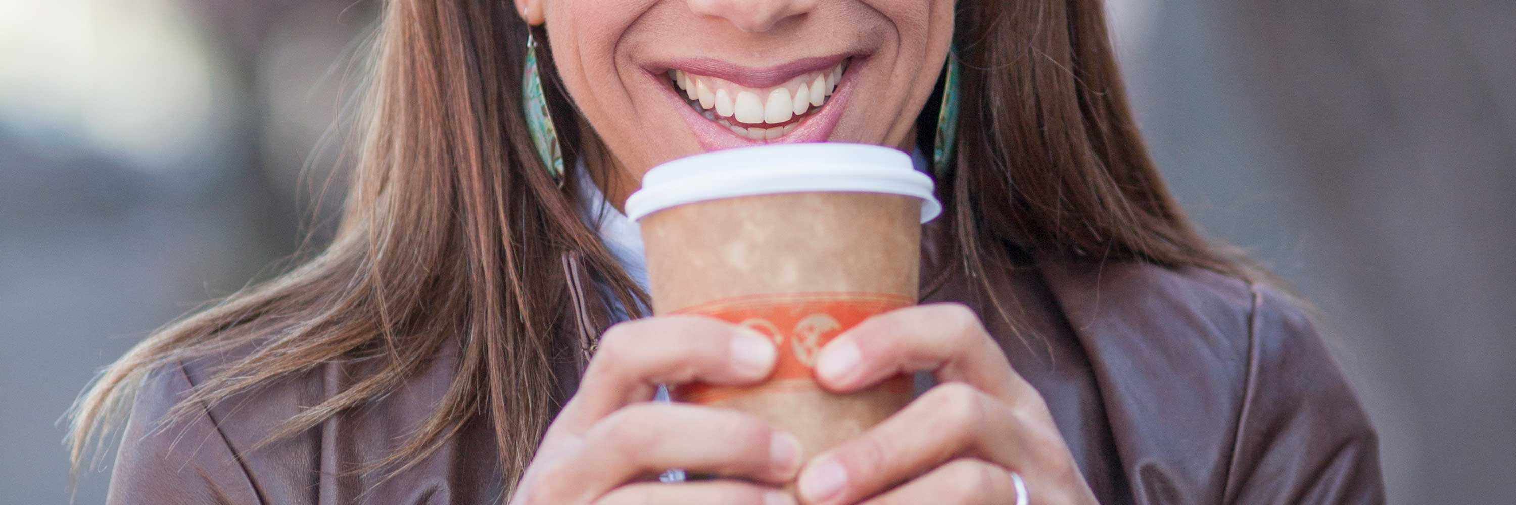 Picture of a woman drinking coffee